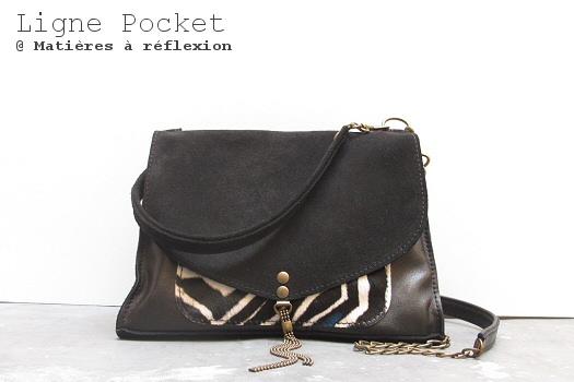 Petit sac cuir veau noir zébré Little Pocket Matières à réflexion