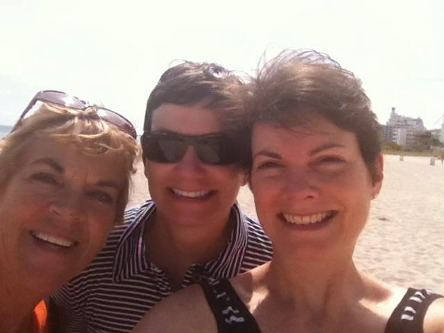 Nan, Jane and Susan in a selfie on the beach in Miami Beach