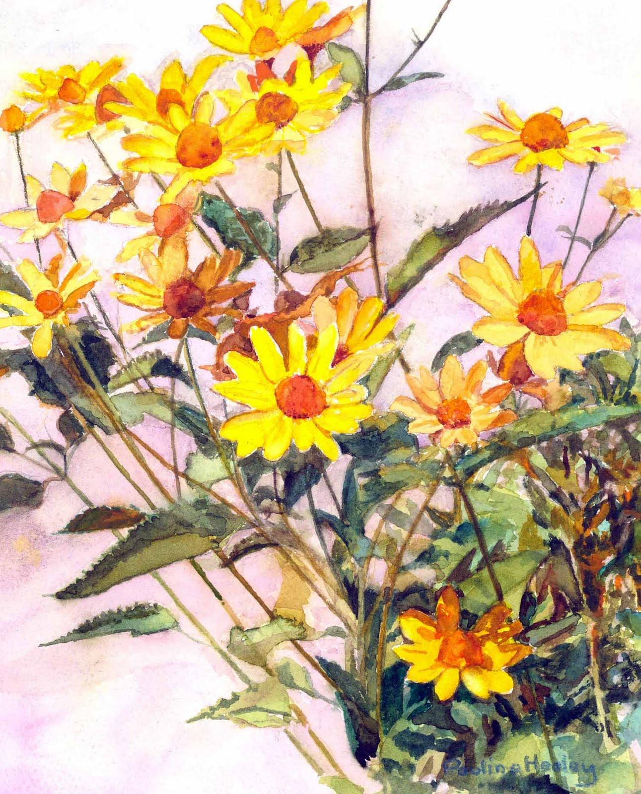 Paulines Art Yellow Corn Flowers