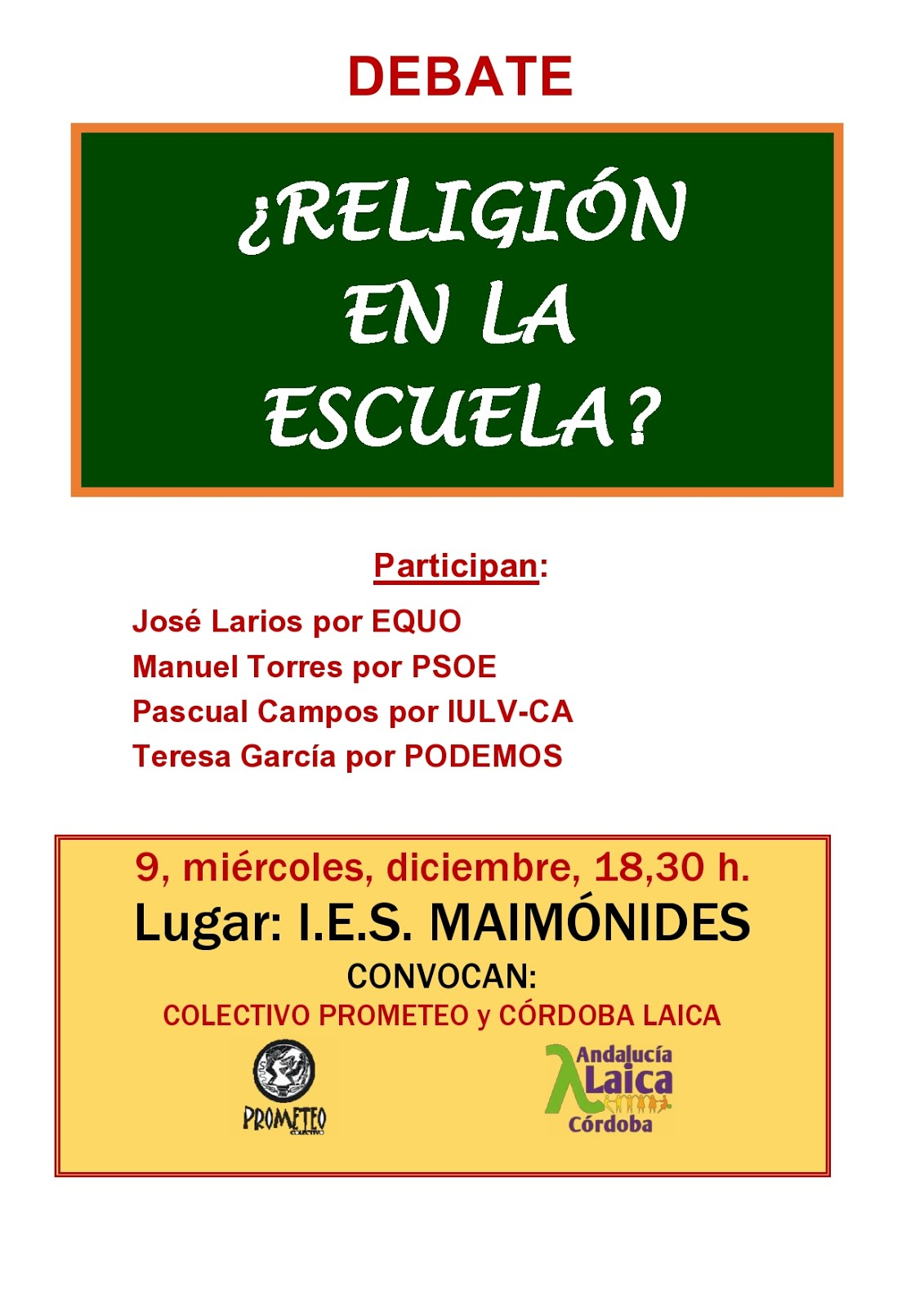 ¿Religión en la escuela?