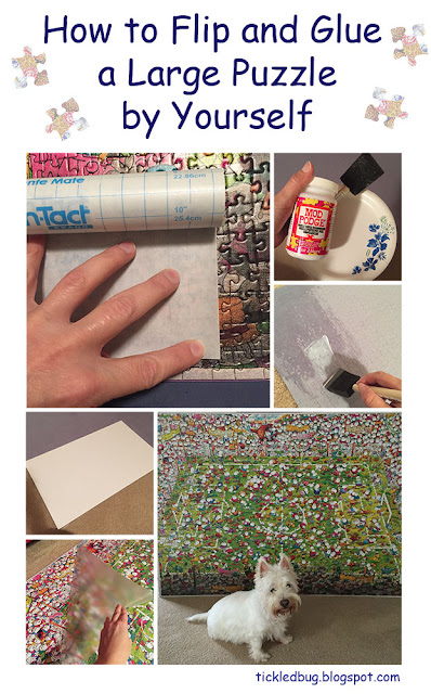 Process pictures of a how to on tickled by the creative bug blog flip and glue a large puzzle by yourself