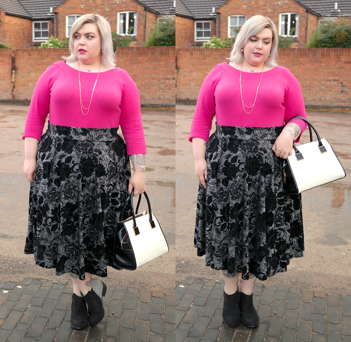 A picture of British Plus Size Fashion Blogger Nancy Whittington-Coates in pink sweater and grey floral skirt www.sugar-darling.com