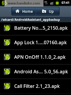 My Files ► SD Card ► AndroidAssistant_appbackup