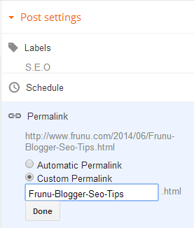 how to customize blogger url for seo