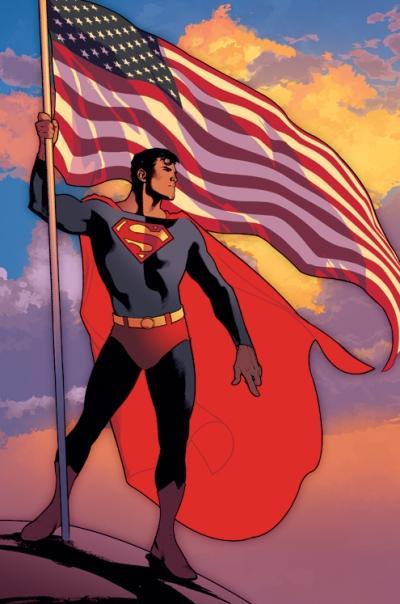 Dibujo de Superman junto a la bandera de Estados Unidos