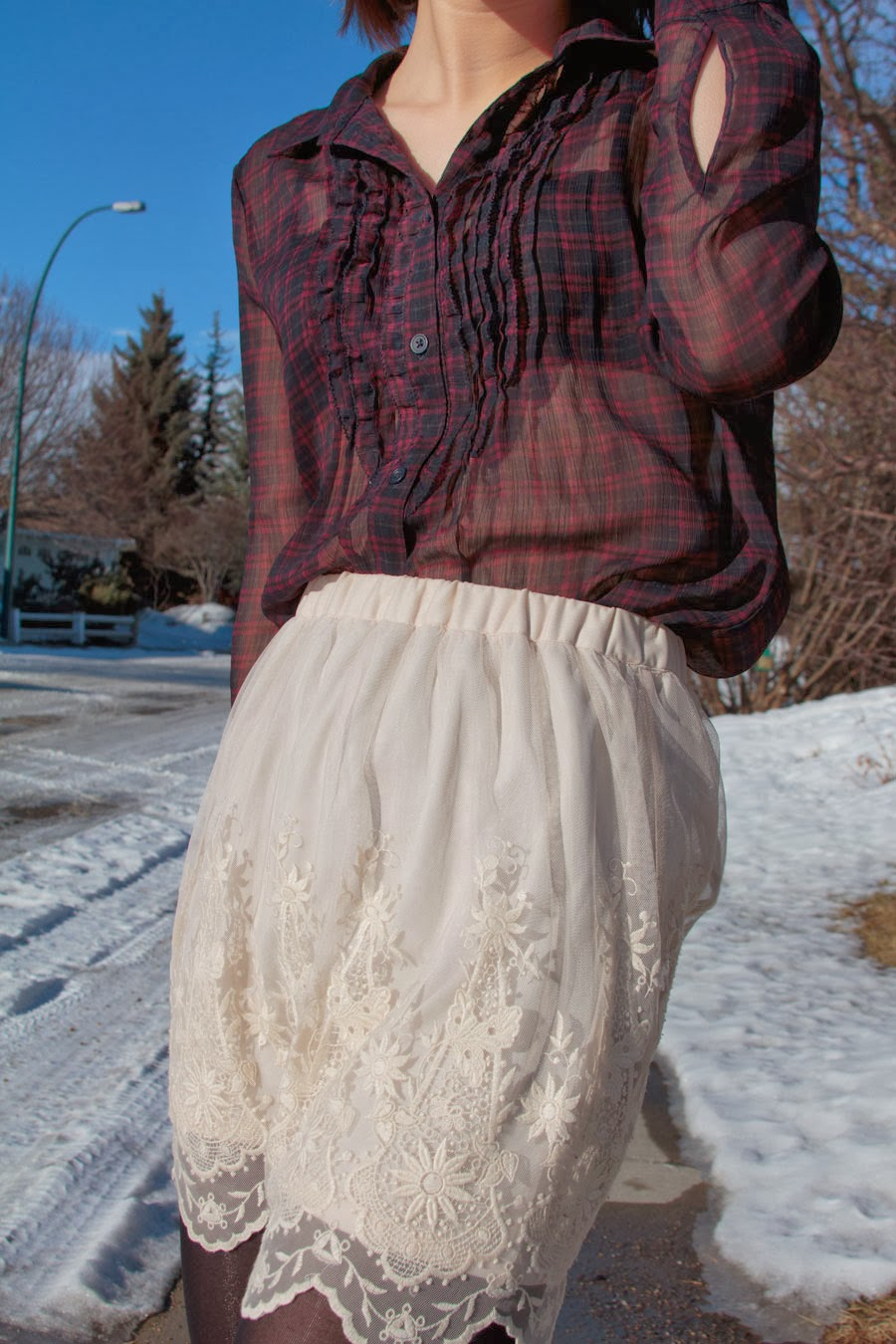 Lace up booties, sheer top, plaid, lace skirt, urban outfitters, spring fashion