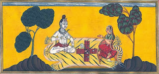 Shiva and Parvati playing dice; Pahari painting.
