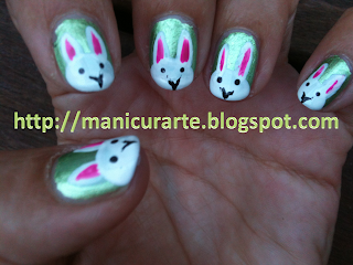 rabbits nail art