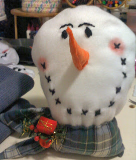 Shades of Safhire - Fleece snowman head (in process)