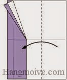Bước 8: Gấp cạnh giấy sang trái.