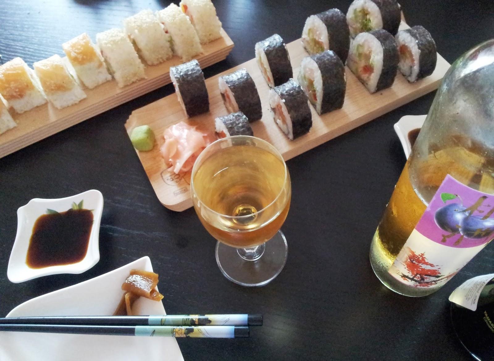 sushi wino śliwkowe