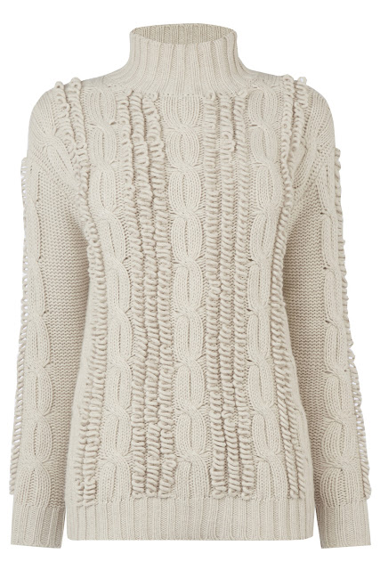cream loop knit jumper, warehouse cream jumper, cream loopy jumper,
