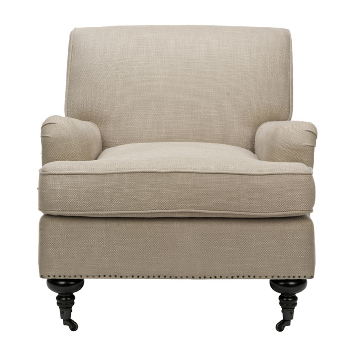 club chair the classic styling of this chair tight back bridge water arms exposed wooden legs on casters nail head trim strengthens the presence of