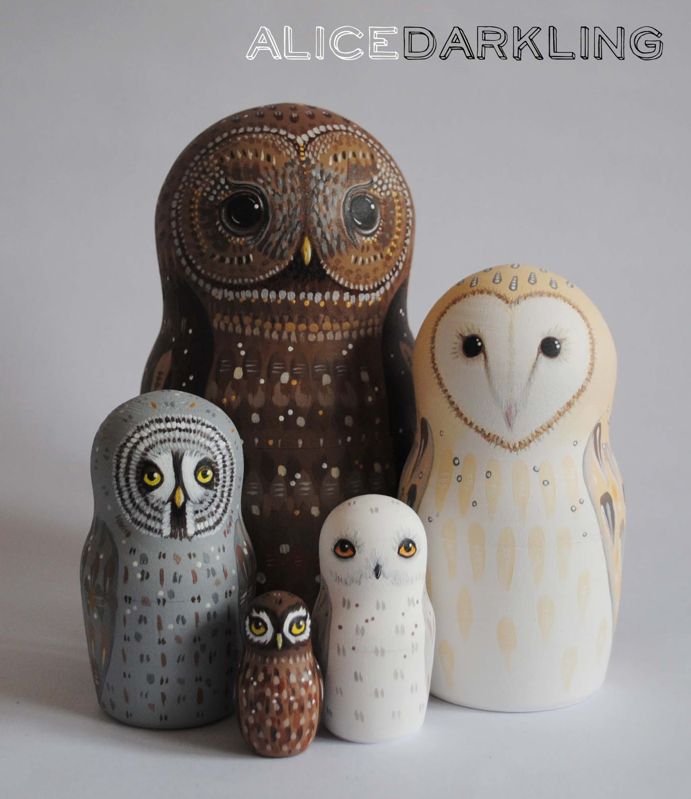 Russian Nesting Dolls Owls Painted Owl Nesting Dolls