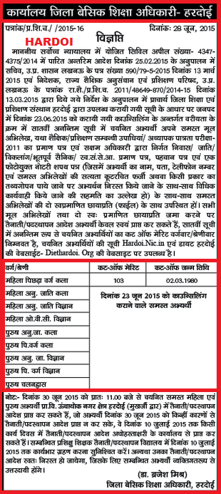 UPTET DIET 72825 Prashikshu Shikshak Bharti Latest Cut off Merit list of Etawah ,Aligarh & Hardoi District