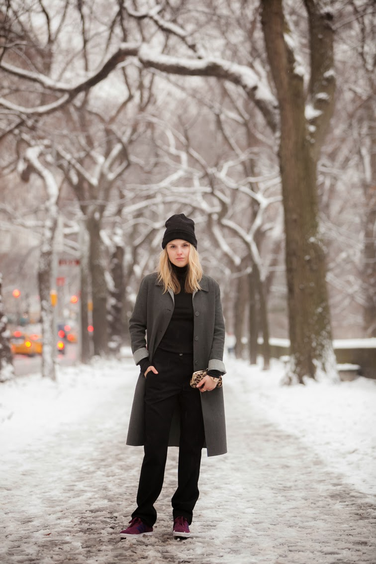 Wintertime, NYC New York City, Central Park, Snow, long grey Club Monaco coat, clean lines, minimalism, tuxedo