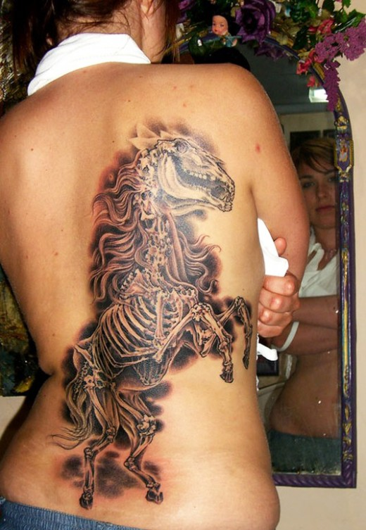 Horse Skeleton Tattoo For Girls Back 520x753jpg
