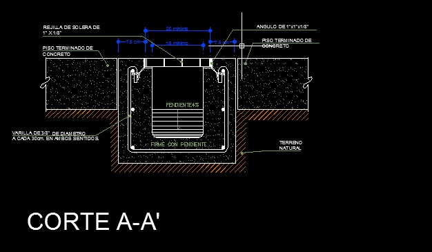 Planos canales de drenaje dwg aporte a la ingenier a for Planos ingenieria civil