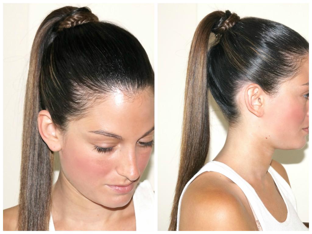 sleek ponytail with wrap around braid