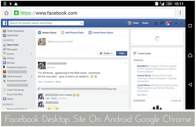 Facebook full site android