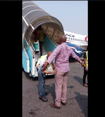 Check Out This Picture Of Transport Minister Rotimi Amaechi Being Searched At Airport Before Boarding A Flight