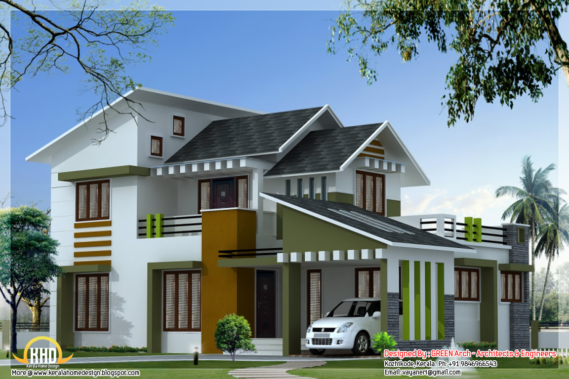 1750 square feet 3 bedroom modern villa kerala home for Modern villa plans and elevations