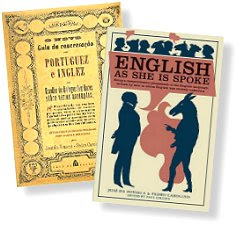 "Cover of ""English as She is Spoke""; the original 1855 version is on the left"