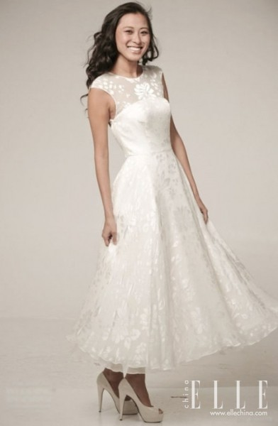 Celebrity dresses simple and vintage wedding dress do for Simple ankle length wedding dresses