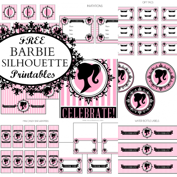 photo regarding Free Printable Barbie Silhouette called Barbie Silhouette No cost Printable Package. - Oh My Fiesta! within english