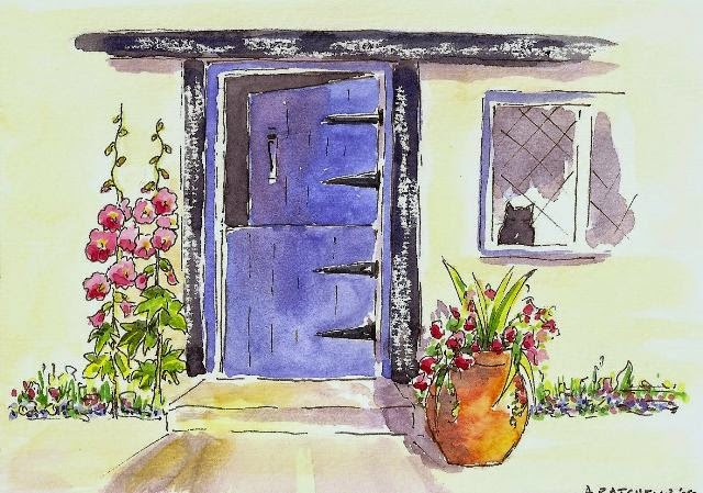 Blue Door Pen and Watercolour Painting & Angela Batchelor - Artist - Paintings in Acrylic Watercolour and ... pezcame.com