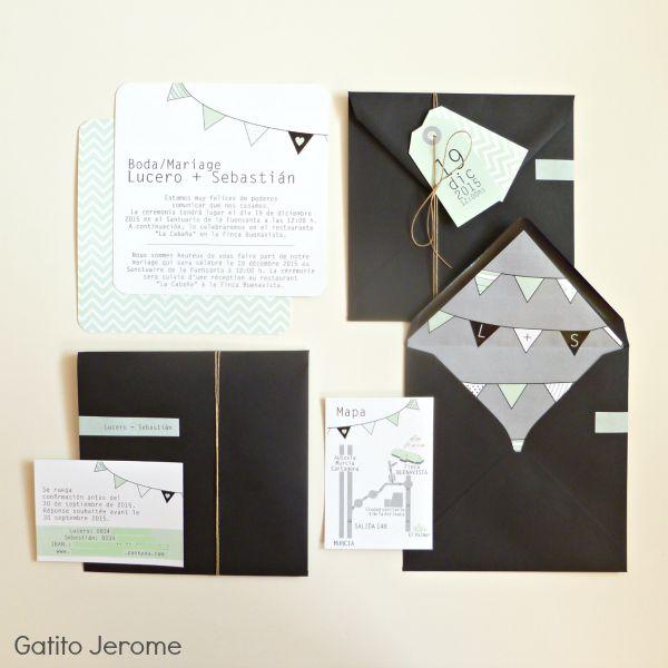 Invitación de boda verde mint y gris: tarjeta + tarjetitas + sobre forrado