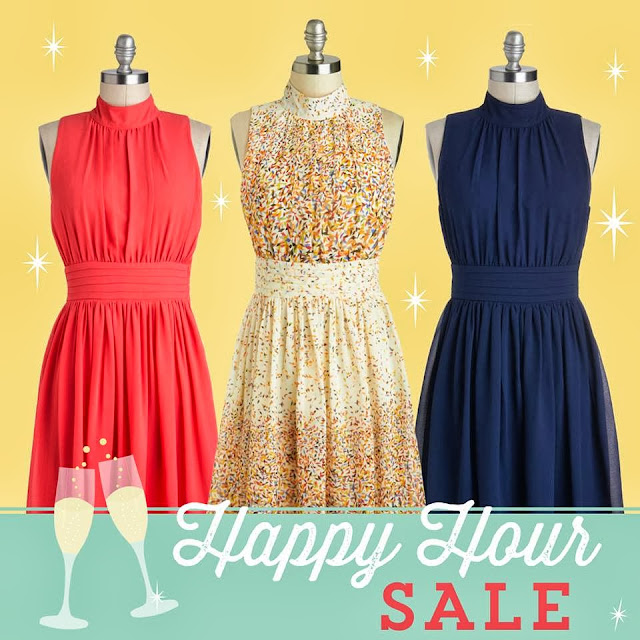 modcloth.com, Modcloth dress, Windy City Dress in Navy, Windy City Dress in Coral, Windy City Dress in Confetti, Happy Hour Sale, high neck dress, chiffon style dress, sprinkle pattern dress, navy blue dress, salmon color / colour dress, A Coin For the Well, sale, promotion