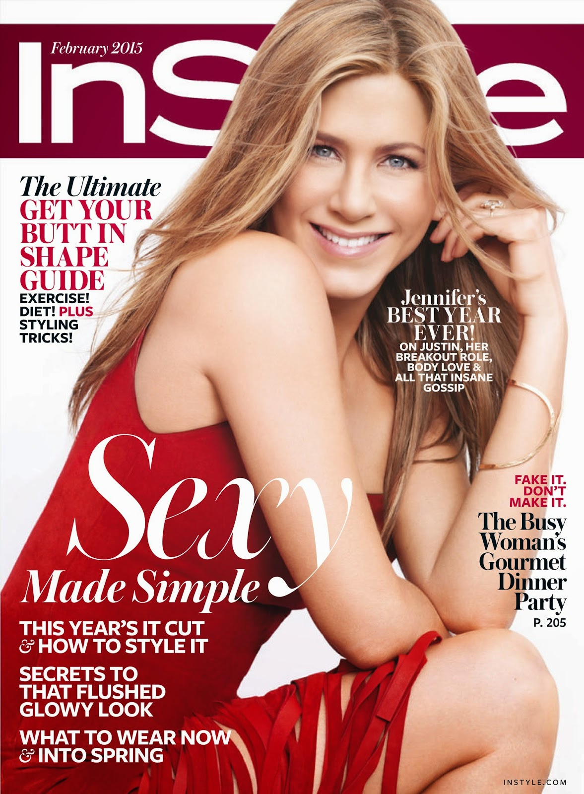 Jennifer Aniston - Ravishing In Red  For InStyle February 2015