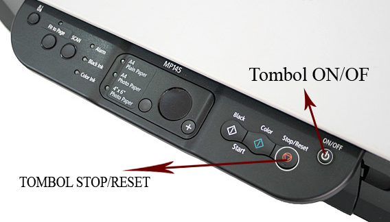 """tombol """"Stop/Reset"""" 4x. Tekan tombol """"On/Off"""" 1 kali. Matikan printer ..."""