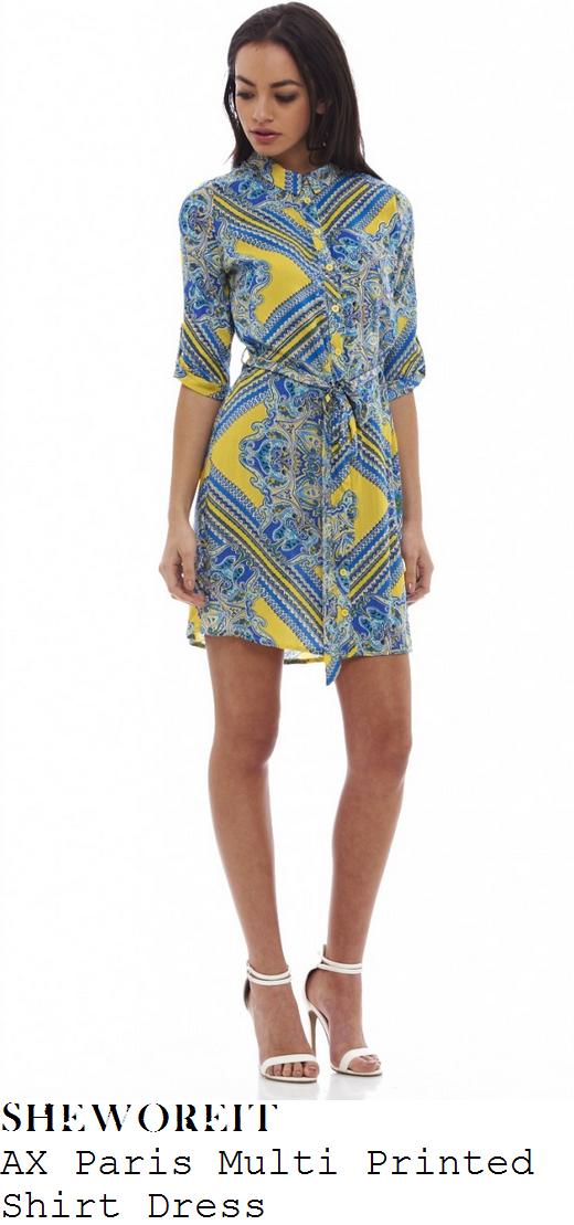 lucy-mecklenburgh-yellow-blue-button-up-mixed-tile-print-shirt-dress