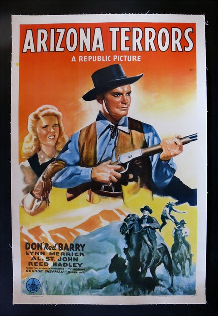 free printable, printable, classic posters, free download, graphic design, movies, retro prints, theater, vintage, vintage posters, western, Arizona Terrors, Don Red Barry, Lynn Merrick - Vintage Western Cowboy Movie Poster