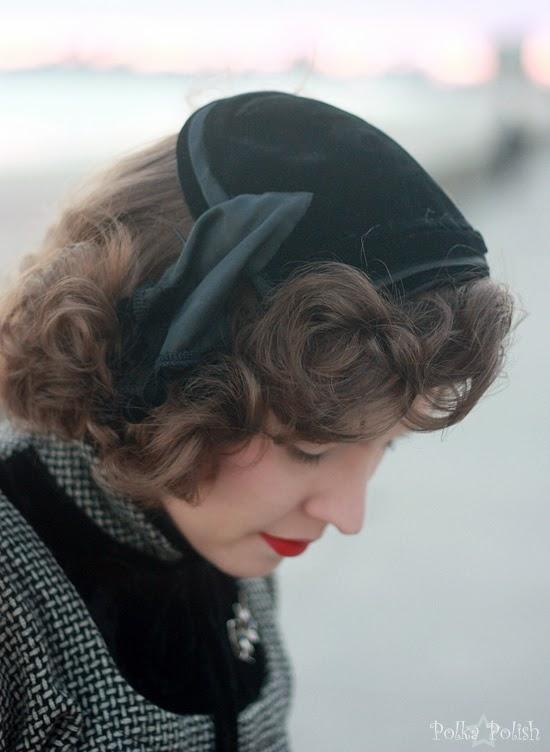 Black velvet and satin cocktail hat with bobble trim