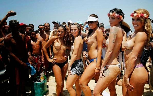 Brasil beach naked pics, blond girl fingering herself