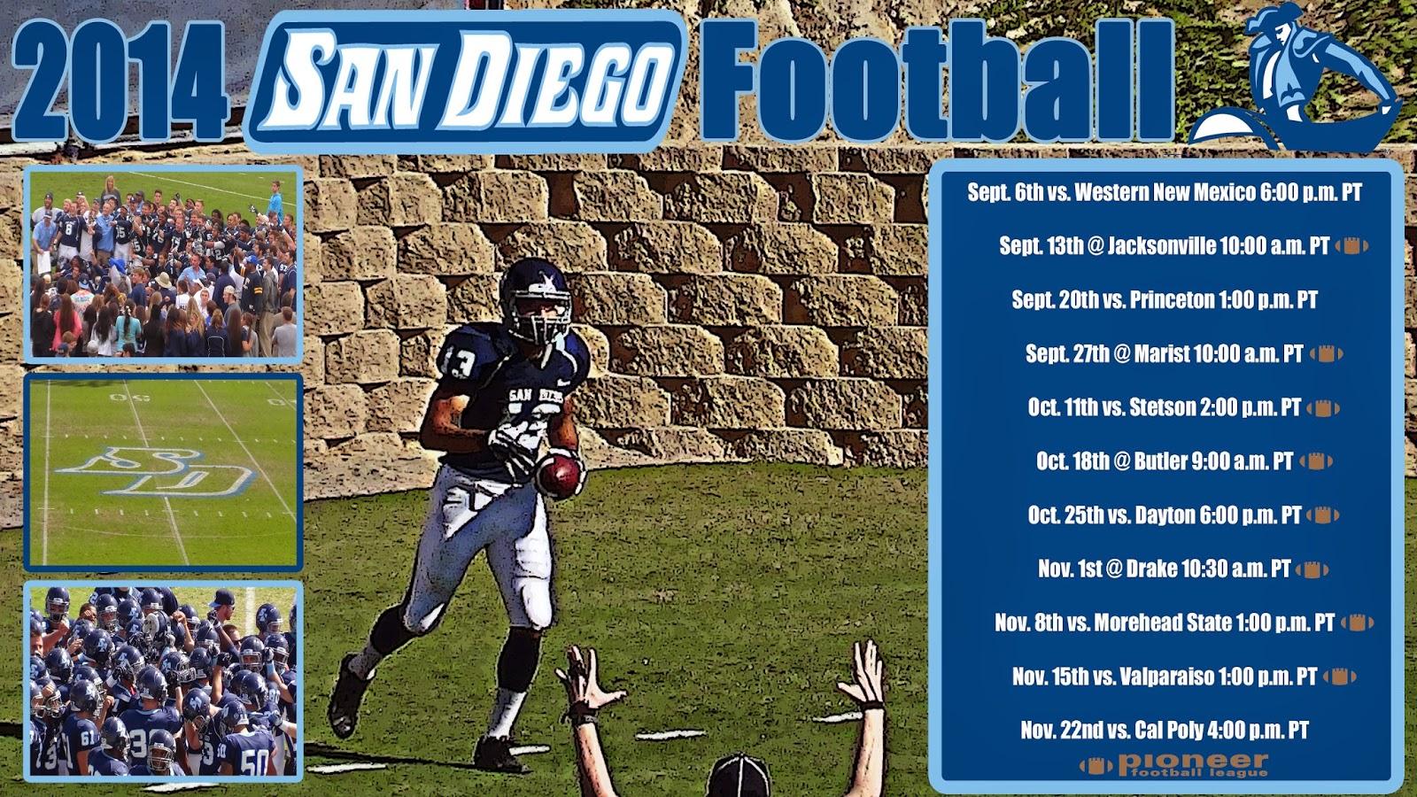 san diego football network: usd toreros 2014 football schedule