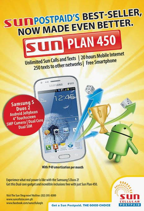 Avail a Samsung S Duos 2 with Sun Postpaid Plan 450