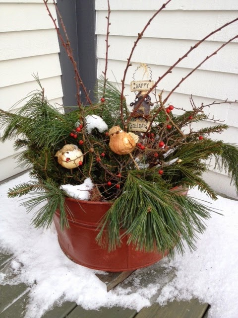natural Christmas, red container, bird planter, winter decorations, porch