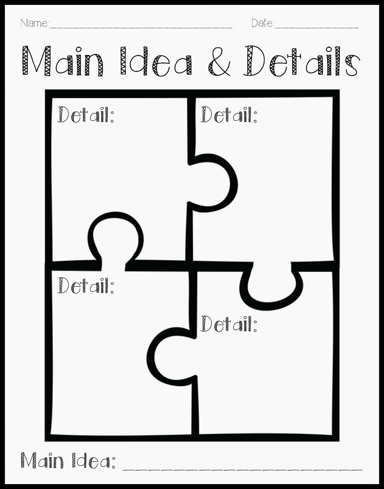 Crystals Classroom Using a Puzzle to Teach Main Idea and Details – First Grade Main Idea Worksheets