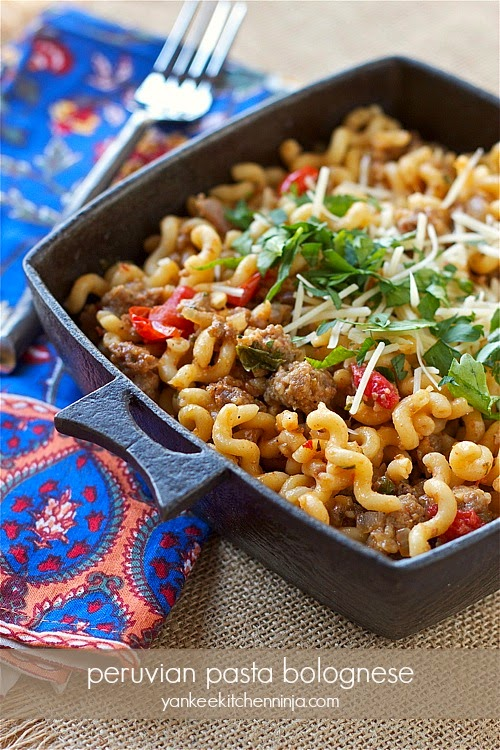 Peruvian style pasta bolognese with a spicy kick