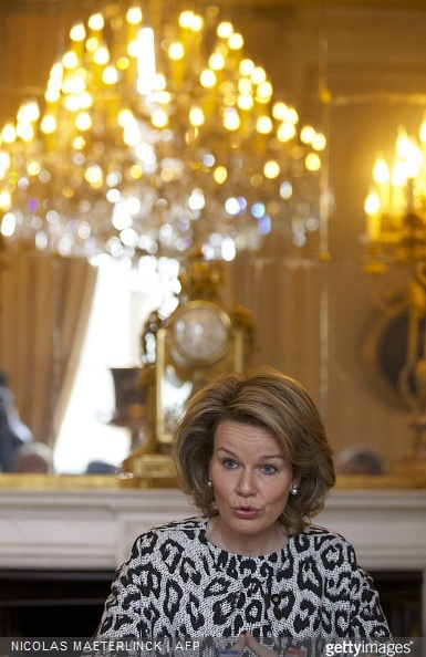 Belgium's Queen Mathilde attends a presentation on poverty at the Royal Palace