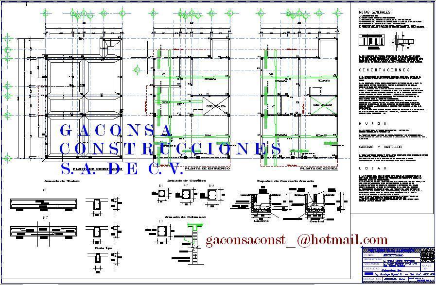 Gaconsa construcciones planos ejecutivos de casa for Simbologia arquitectonica para casas