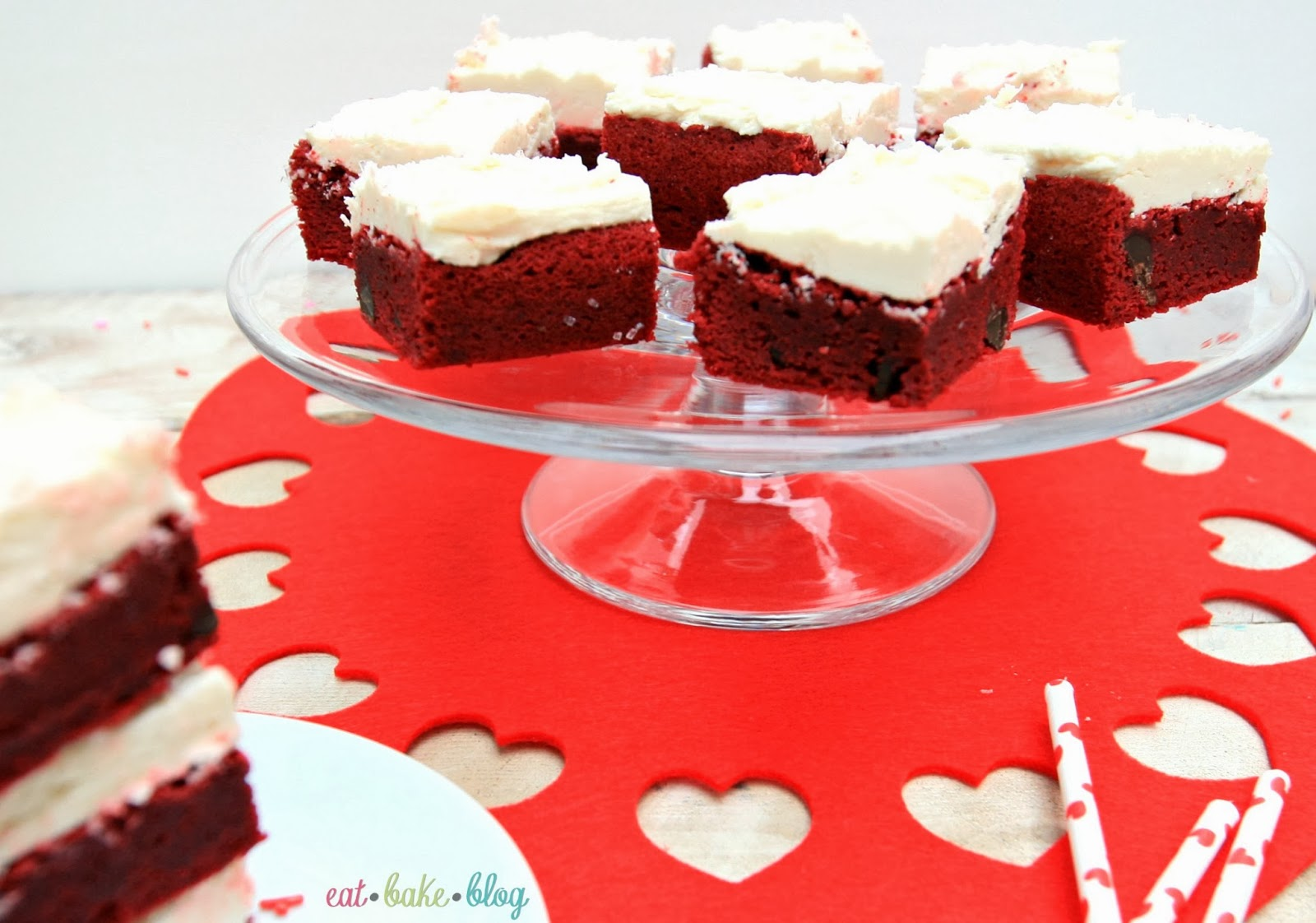 best red velvet brownies easy valentine's day dessert red velvet brownie recipe white chocolate icing best white chocolate frosting