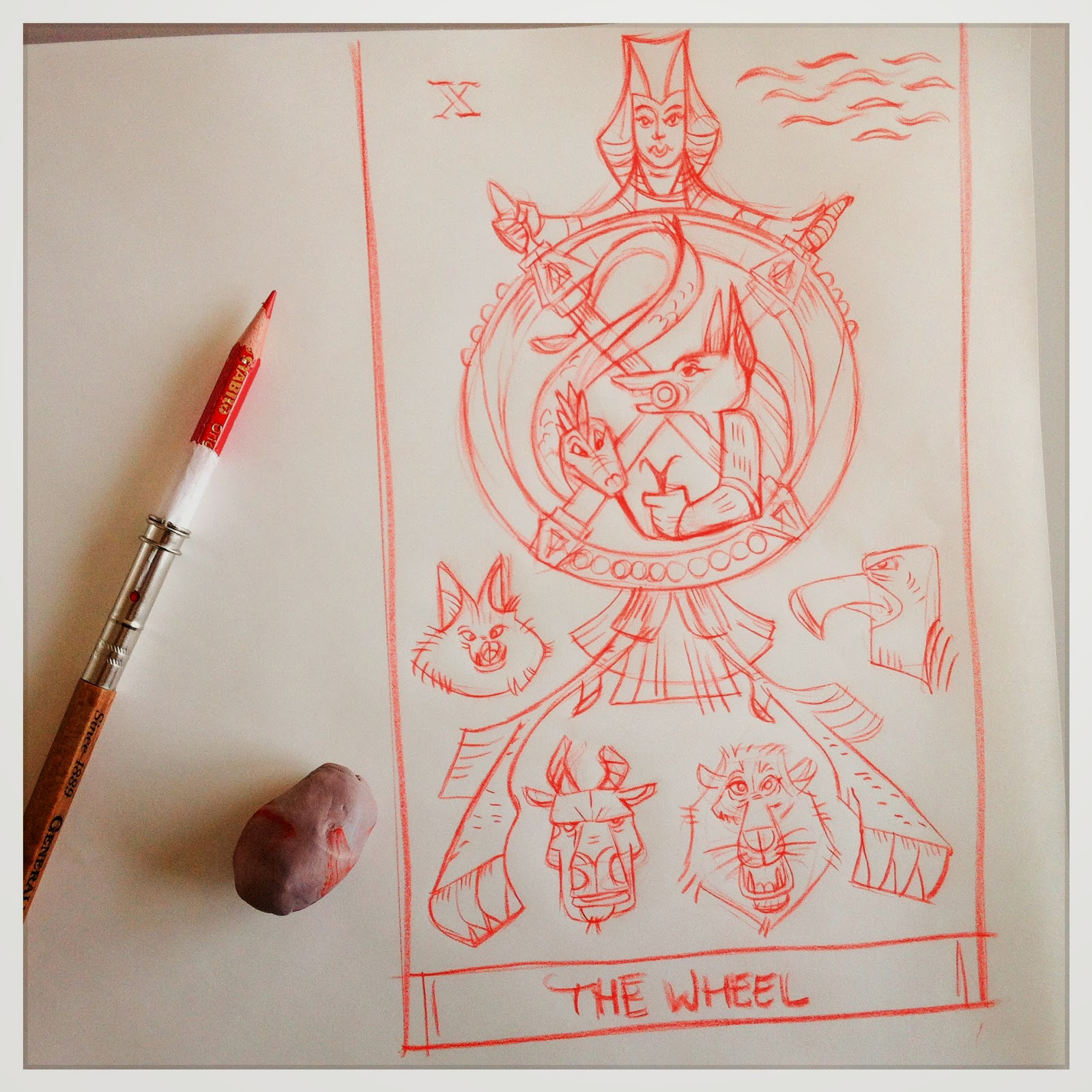Design for: The Wheel -In the spirit of the tarot Marseille - red pencil sketch by Cesare Asaro - Curio & Co. (Curio and Co. OG - www.curioandco.com)