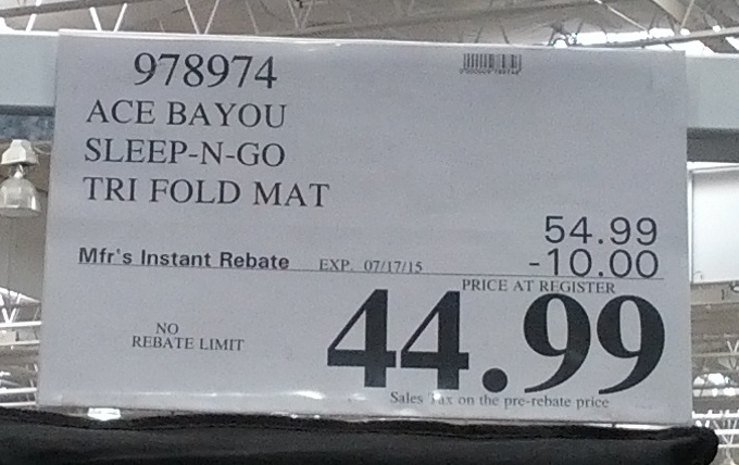 Ace Bayou Sleep N Go Portable Folding Mattress Costco