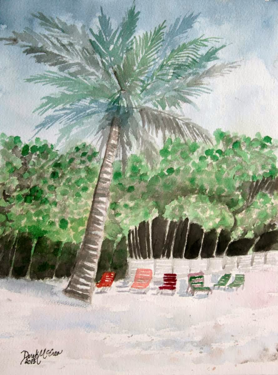 Watercolor paintings art by derek mccrea painting of for Painting palm trees