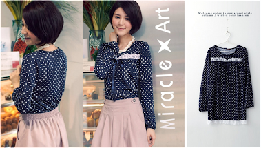 Ladylike Polka Dot Blue Top RM30